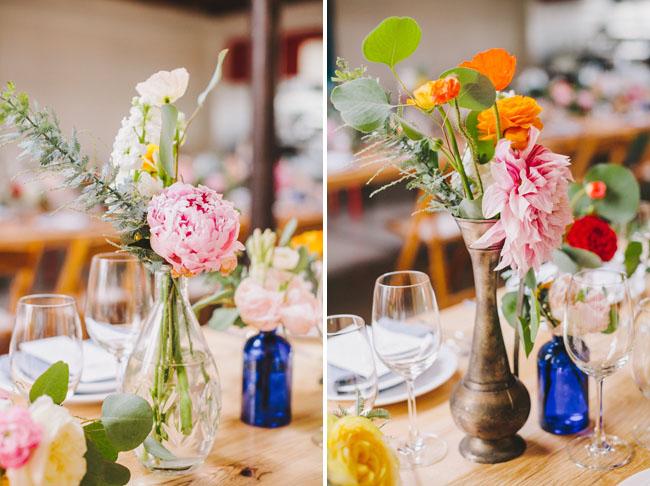 colorful floral bud vase centerpieces