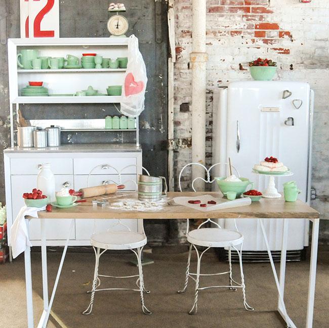 vintage white kitchen tablescape