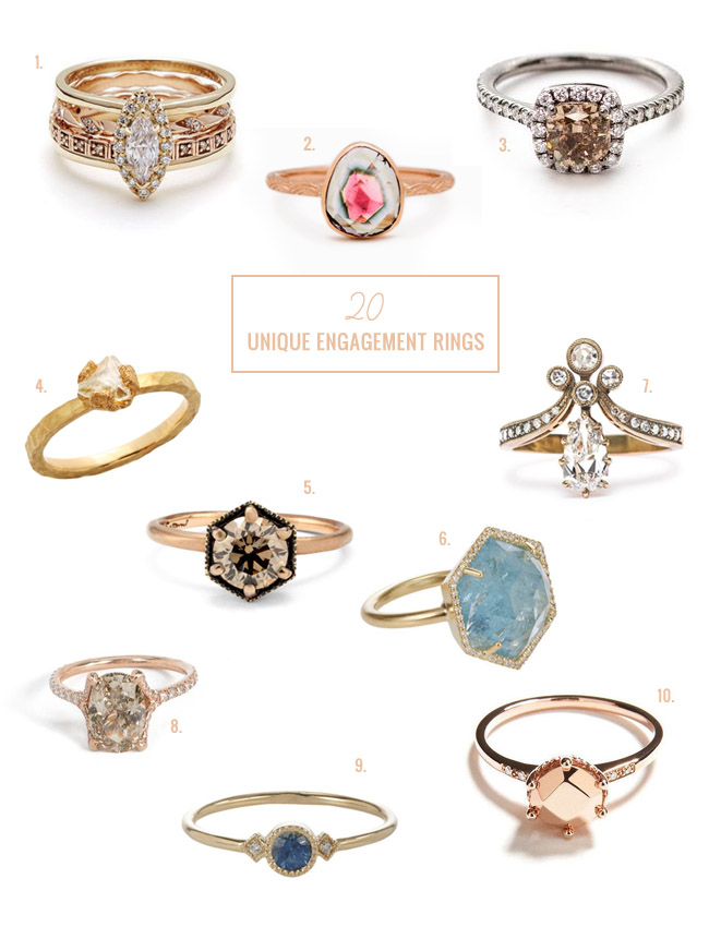 20 Unique Engagement Rings Green Wedding Shoes