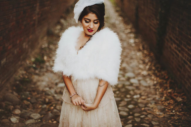 fur wrap bride