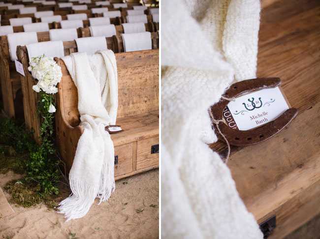 wooden pews in ceremony