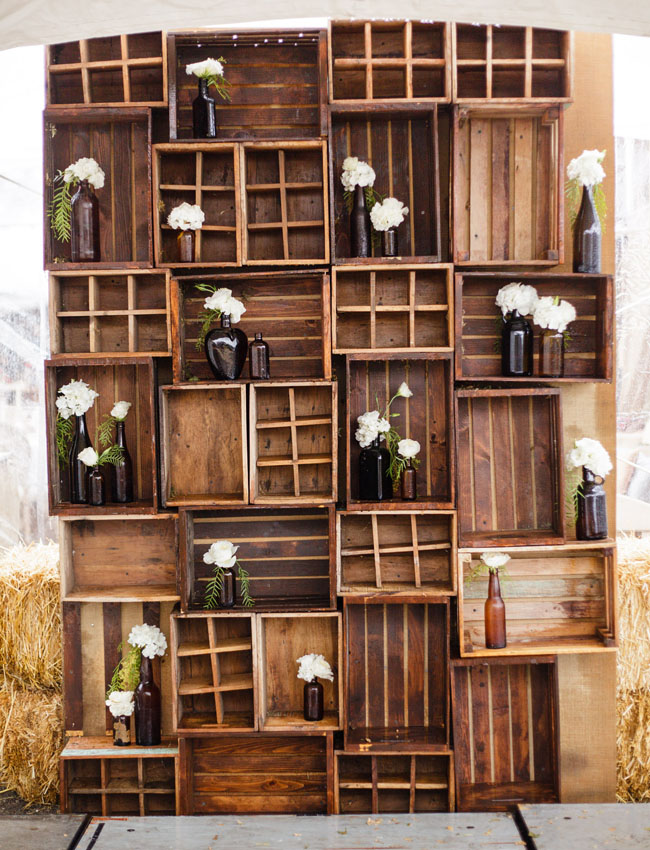 wooden crates stacked up