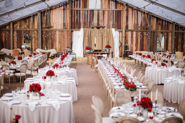 barn tent reception & Elegant Pop-Up Barn Wedding: Laura + Rob - Green Wedding Shoes
