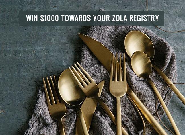 Win $1000 towards your Zola Registry