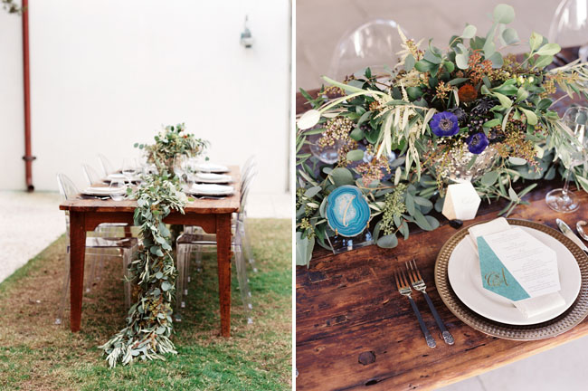 winter geode tablescape