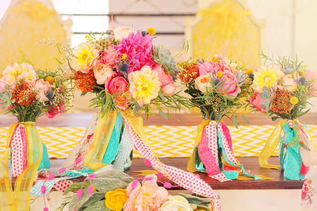 colorful ribbon bouquets