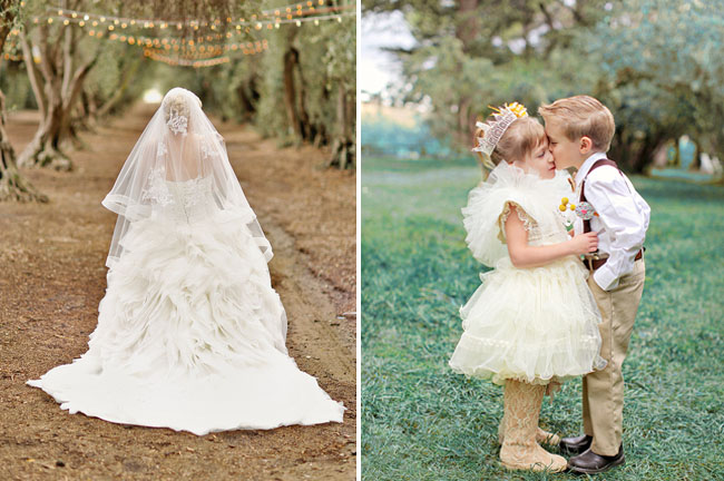 flower girl and ring bearer kiss