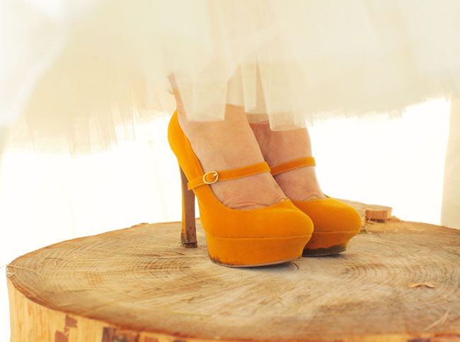 mustard yellow bridal heels