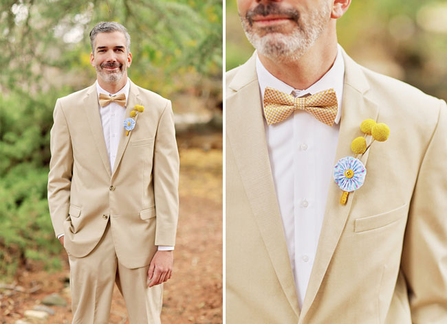 tan suit groom with bow tie