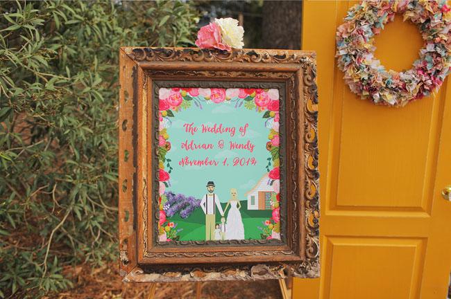 floral illustration welcome sign