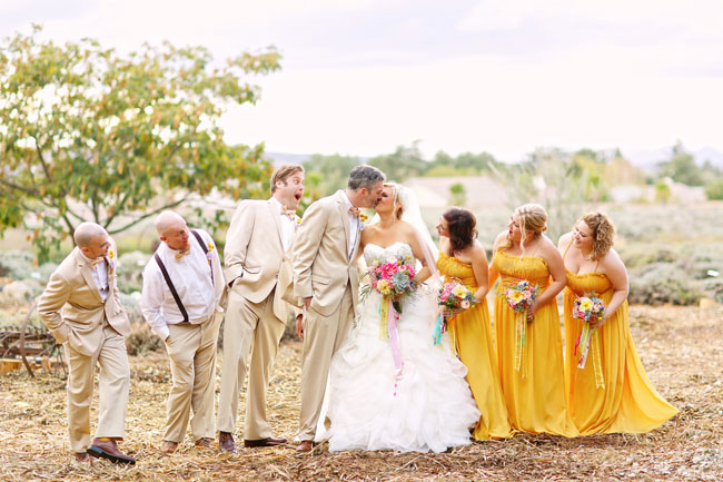 mustard yellow wedding party