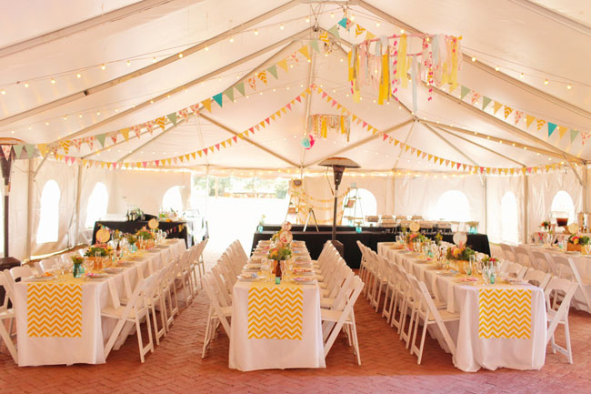 colorful chevron reception