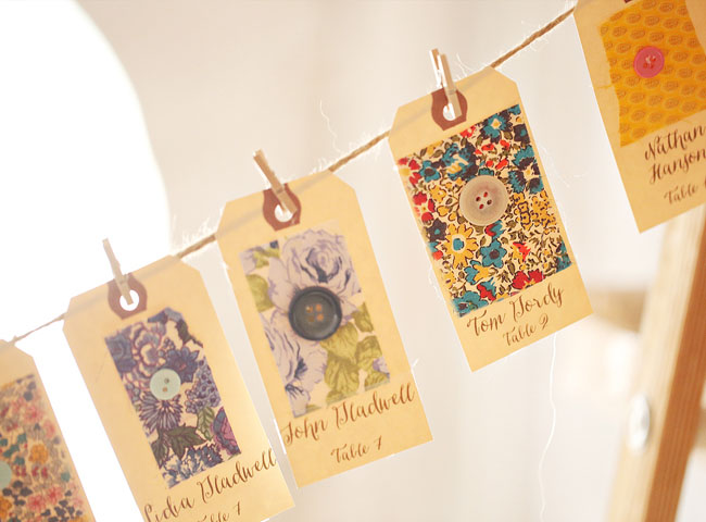 vintage fabric tag escort cards
