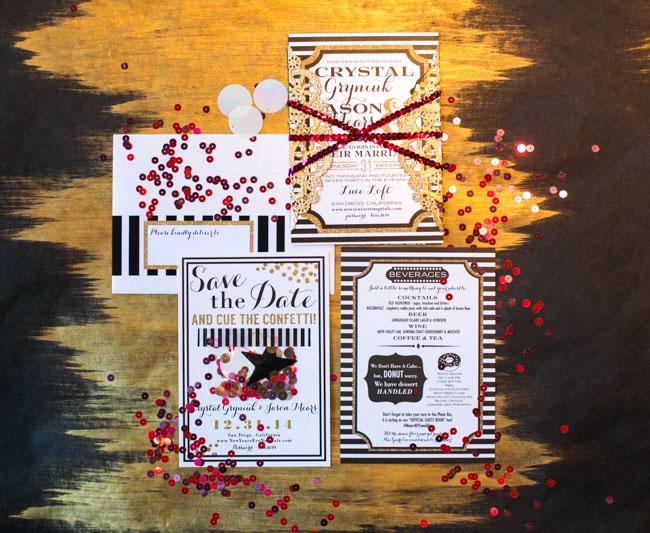 NYE confetti invitation