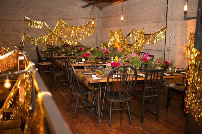 gold fringe reception decor