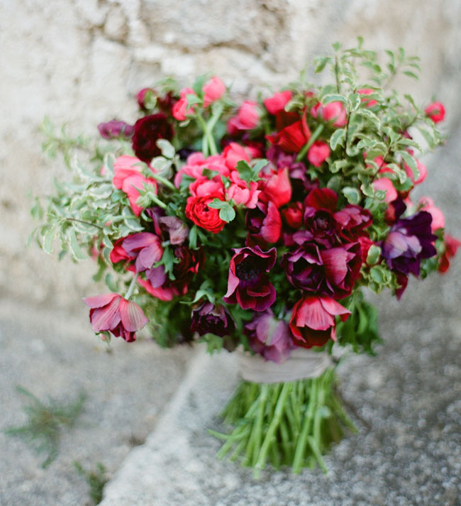 bright red anemone bouquet