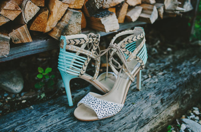 dotted teal heels
