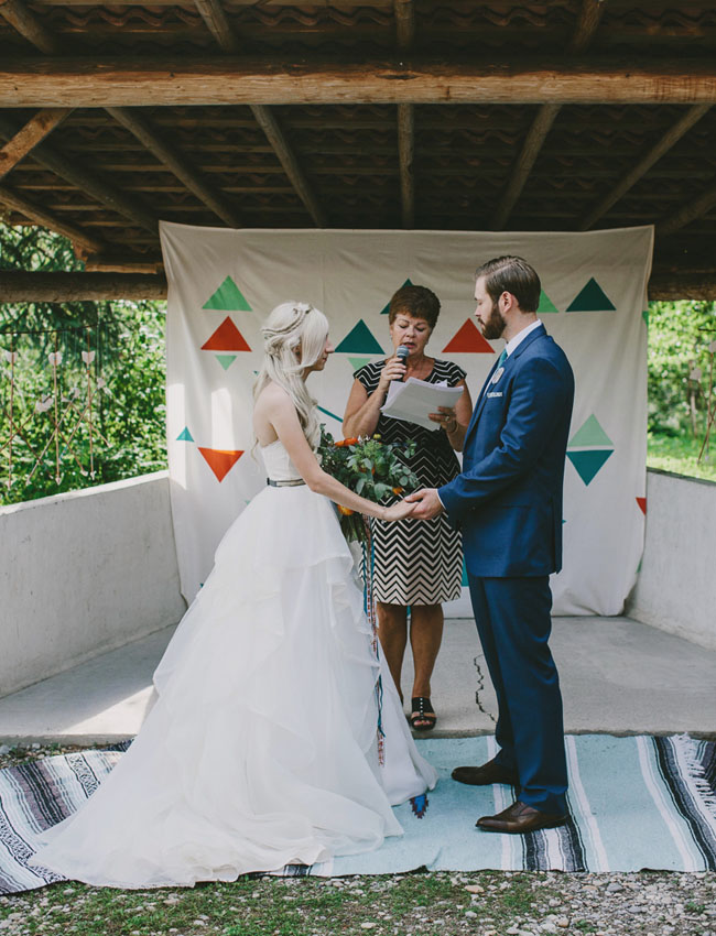colorful aztec mountain wedding