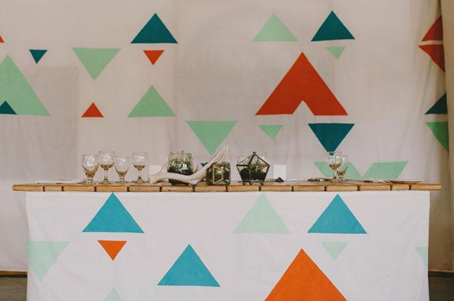 geometric triangle backdrop