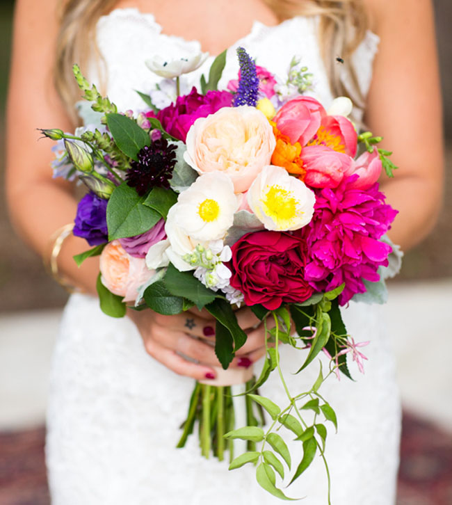 peony and poppy bouquet