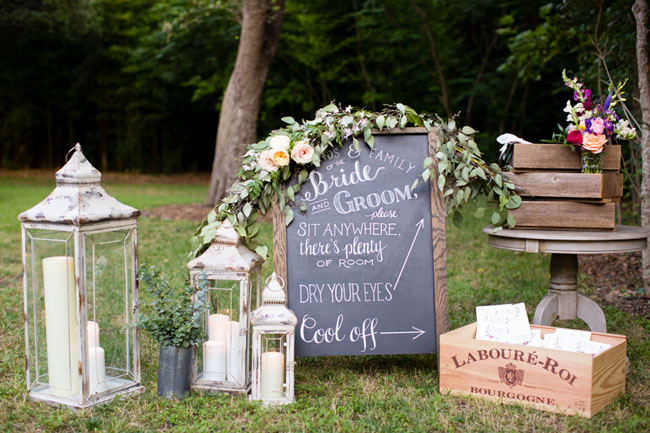 chalkboard sign with florals