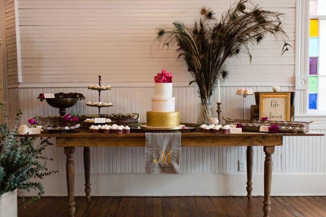boho cake table