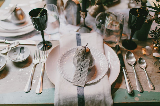 silver pear plate setting