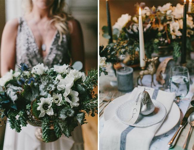 Dark Ocean Winter Wedding Inspiration - Green Wedding Shoes
