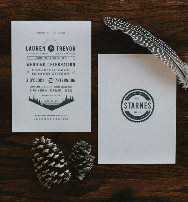 modern type invitation