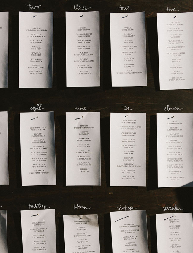 paper seating chart on wood