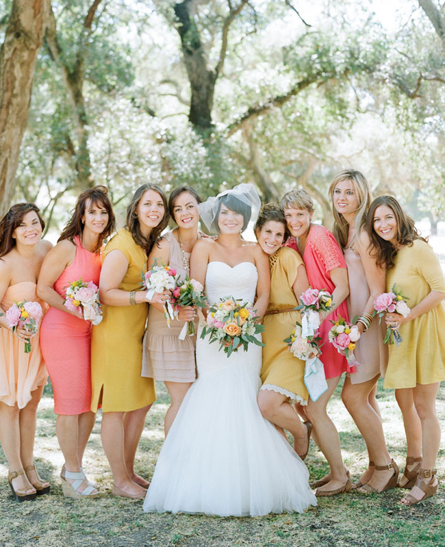 yellow and pink bridesmaids