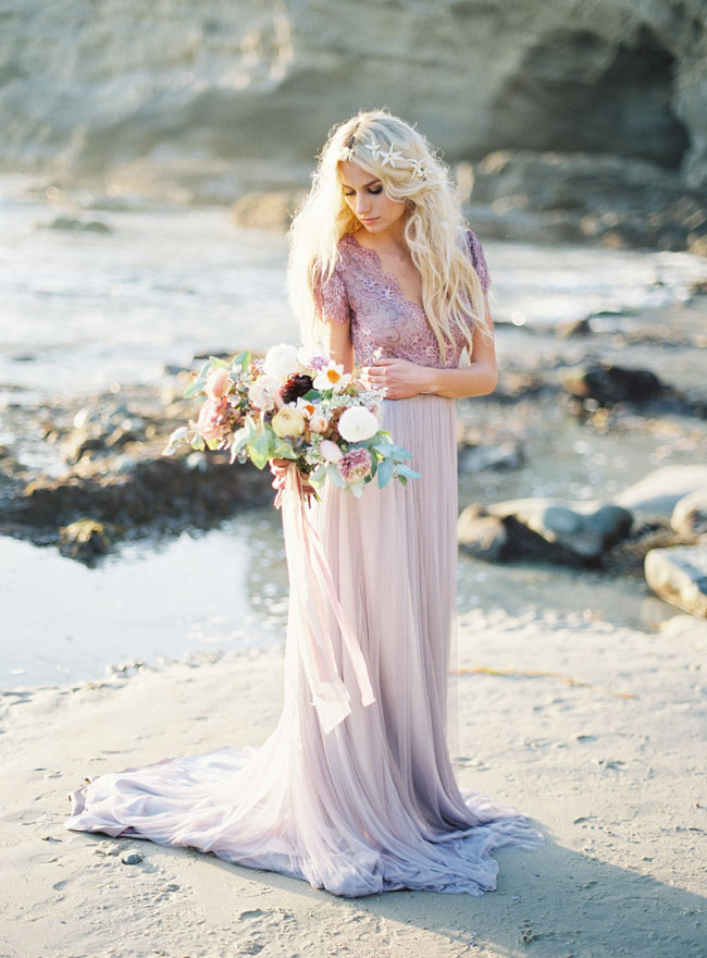 Ethereal Seaside Wedding Inspiration with a Lavender Wedding Dress ...