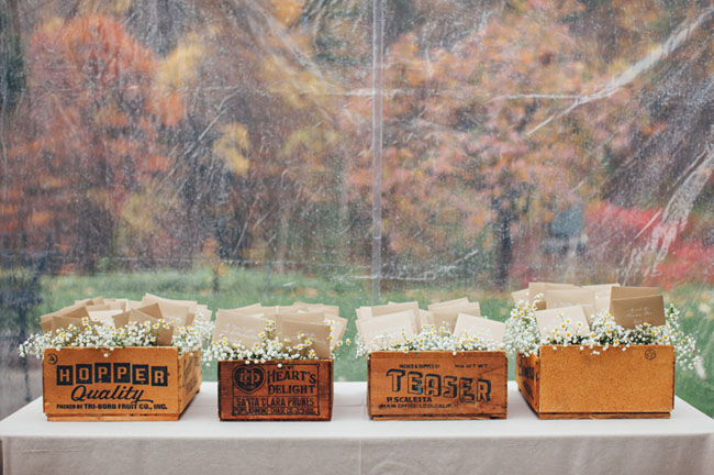 vintage crate escort card display