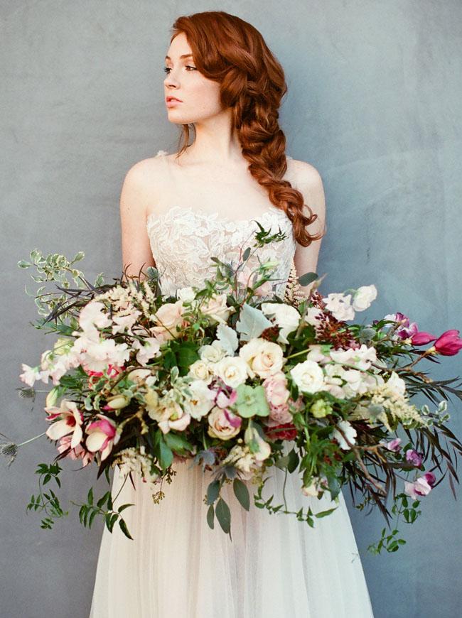 folksy bouquet of pinks