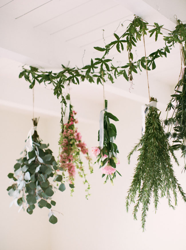 hanging greens above tablescape