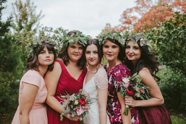 flower crown berry bridesmaids