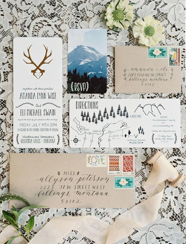 woodsy boho invitation