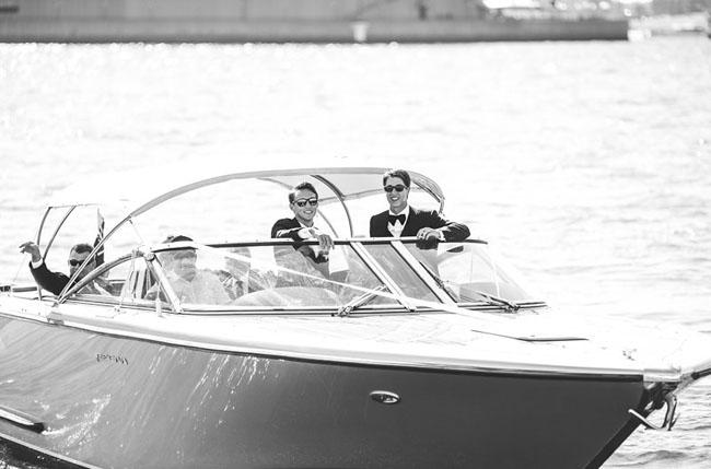 groomsmen on a boat