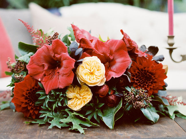 red floral centerpiece