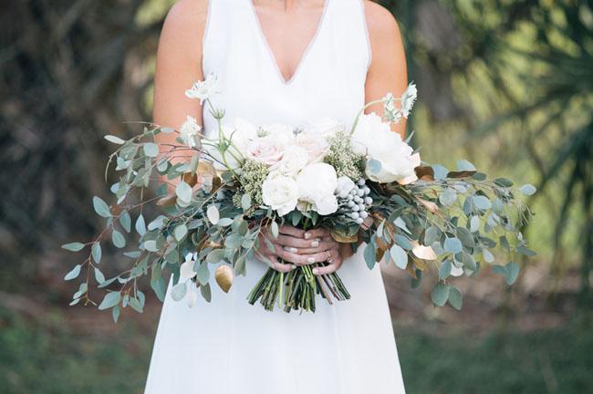 loose rose and eucalyptus bouquet