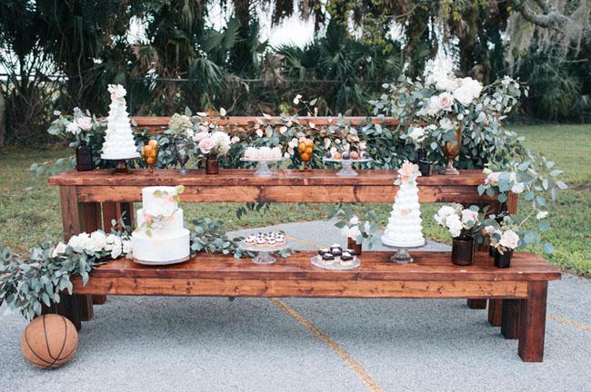 basketball bench cake table