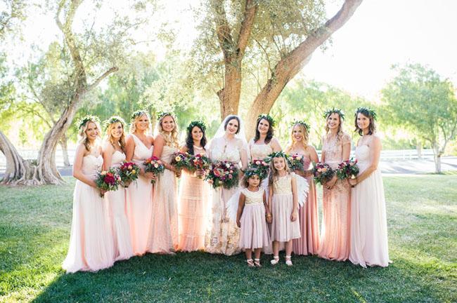pink maxi bridesmaid dresses