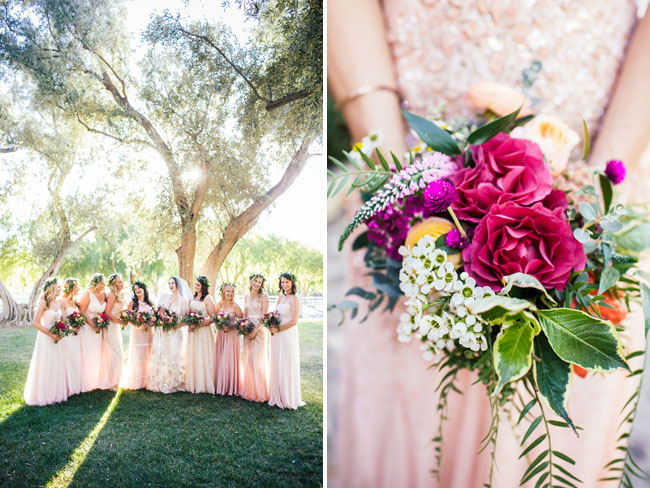 pink maxi bridesmaid dresses