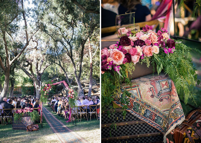 colorful pink ceremony decor