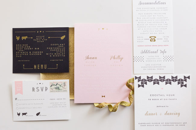 modern kate spade inspired invitation