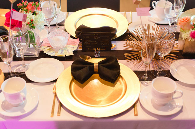 black and gold reception