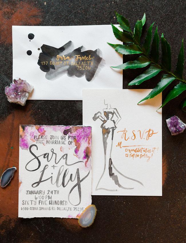 modern watercolor invitation