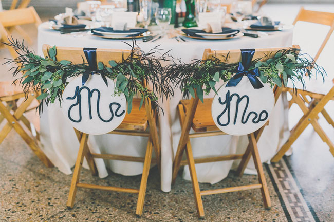 mrs and mrs garland chair decor