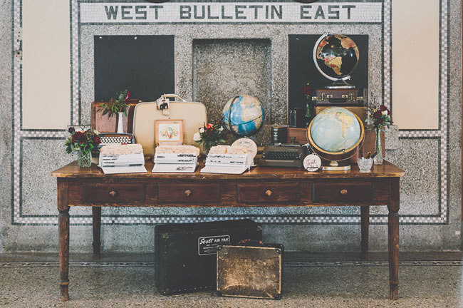 travel inspired guest book table