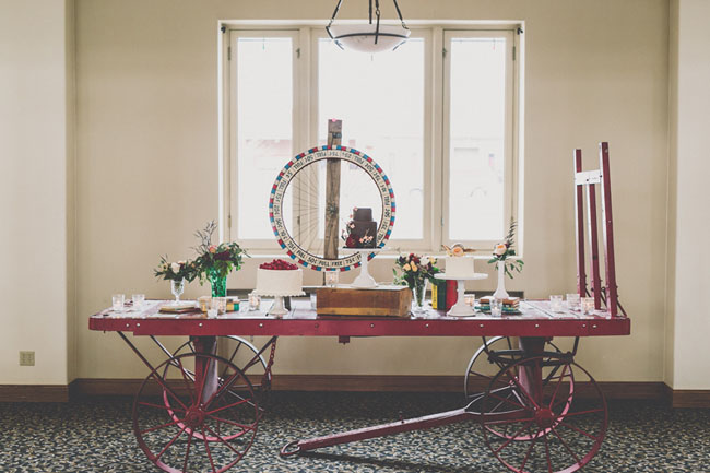 vintage cart dessert table